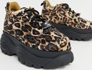 Classic Low Top Platform Leather Trainers Leopard