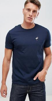 crew neck t shirt with flamingo embroidery  navy