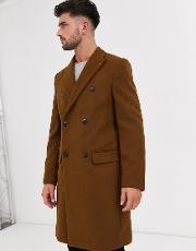 Faux Wool Double Breasted Overcoat