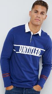 long sleeve rugby shirt in blue