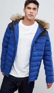 puffer jacket with cut & sew detail in blue