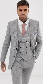 Skinny Fit Suit Jacket Grey Check