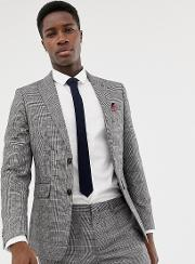 Skinny Fit Suit Jacket Window Pane Check And Grey