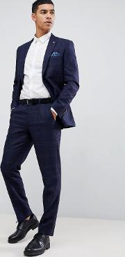 Slim Fit Check Suit Trousers