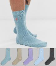 Socks With Tropical Bird Print 5 Pack