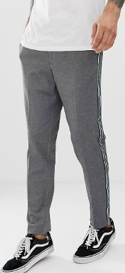 Tapered Fit Trousers With Side Stripe