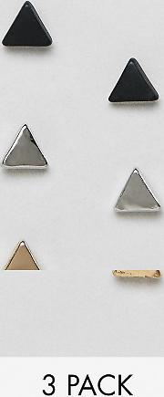Triangle Stud Earrings Silver Gold Black 3 Pack