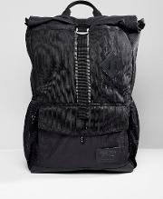 export rolltop backpack in black marl twill