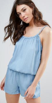 b.young chambray playsuit with cami straps
