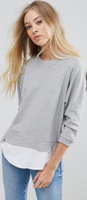 Jumper With Shirting Panels