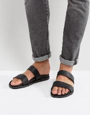 ricoberht double strap sandals in black