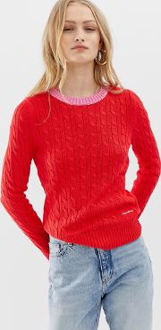 Cable Knit Jumper With Contrast Hems