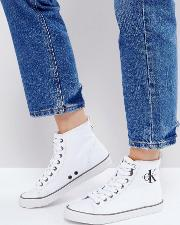 dolores white canvas high top trainers