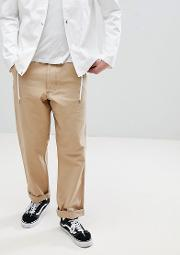 chinos with back logo patch