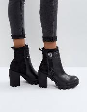 Jeans Jackie Black Leather Heeled Boots