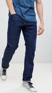 Rinse Straight Jeans With Logo Back Patch
