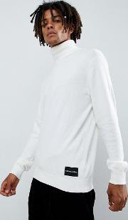 roll neck jumper cashmere blend with logo patch