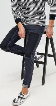 Slim Jeans With Patches Washed