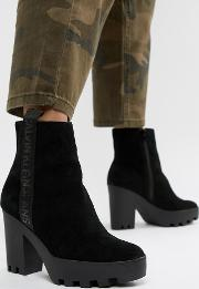 serina black suede chunky heeled chelsea boots