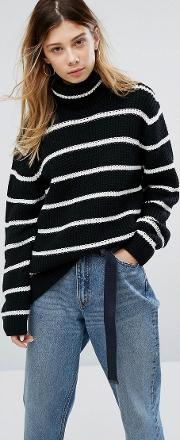 Relaxed Roll Neck Jumper With Stripe In Wool Mix