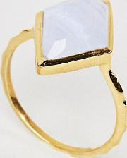 14k Gold Blue Lace Agate Pyramid Ring
