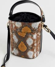 Fizz Mixed Snake Print Bucket Bag