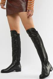 Leather Knee High Flat Boot