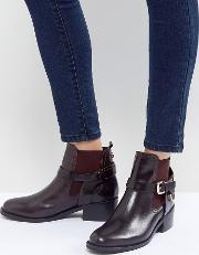 saddle leather buckle flat ankle boots