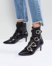 sparky pearl detail leather kitten heel ankle boots