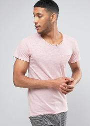 Pocket  Shirt With Curved Hem And Raw Edges