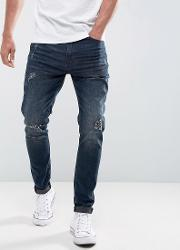 regular fit jeans with distressing  dark blue wash