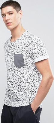 t shirt in all over geo print with contrast pocket