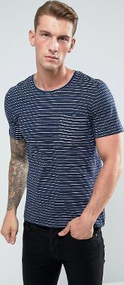 t shirt in textured stripe with reverse pocket