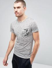 t shirt with floral print pocket