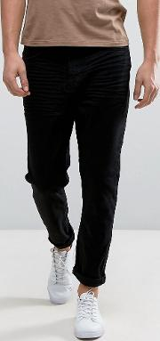 tapered cropped jeans in black