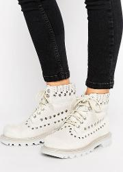 cat colorado studded lace up flat boot