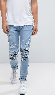 Skinny Biker Jeans  Blue With Distressing