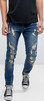 skinny jeans  blue with distressing