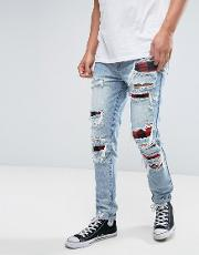 skinny jeans  blue with extreme distressing