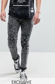 skinny jeans with distressing  acid wash