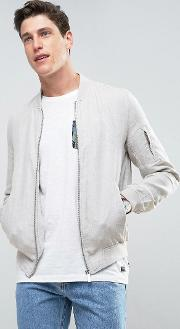Bomber In Linen Mix Fabric