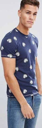 crew neck t shirt in cotton leaf all over print