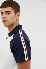 Jersey Polo With Sleeve Taping