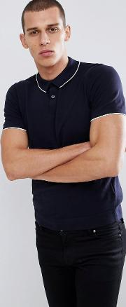 knitted polo shirt with contrast tipping