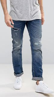 Straight Fit Jeans With Rip Repair Details