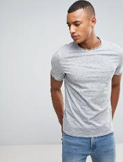 T Shirt With Contrast Tipping And Pocket