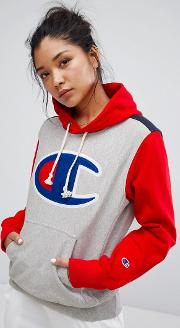 hoodie with colour block & front logo