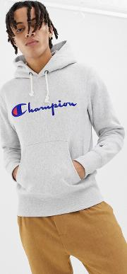 reverse weave hoodie with large logo