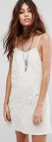 lace slip dress with embroidery and frill detail