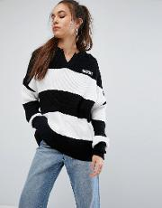 Knitted Jumper With Collar And Logo In Bold Stripe